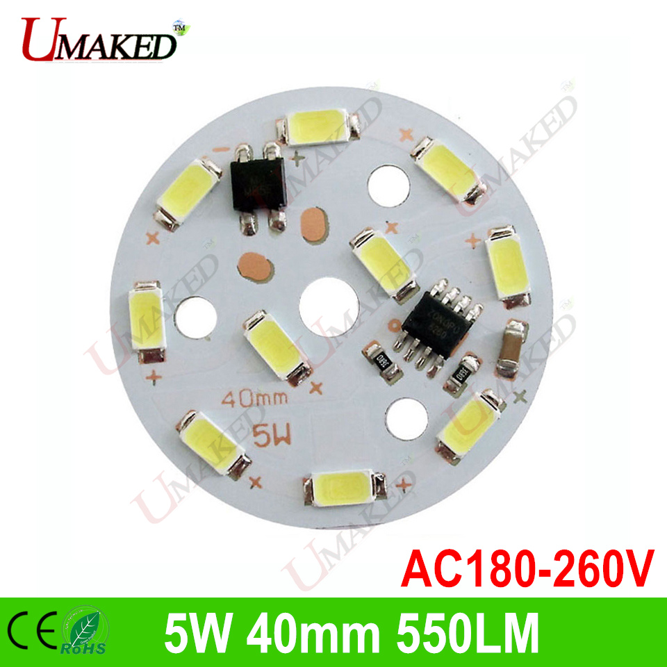 5W 40mm ac220V dimming <font><b>led</b></font> ic dirver No need driver PCB with <font><b>leds</b></font> installed for bulb light, Warm white/ White color Light source