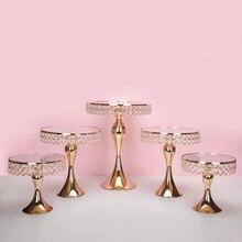 Yeni gelmesi altın kristal kek standı seti galvanik altın ayna yüzü fondan cupcake tatlı masa şeker bar masası dekorasyon