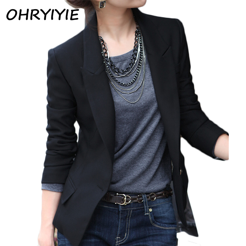 Aliexpress.com  Buy OHRYIYIE Black Single Button Women Blazers And Jackets 2018 Spring Autumn ...