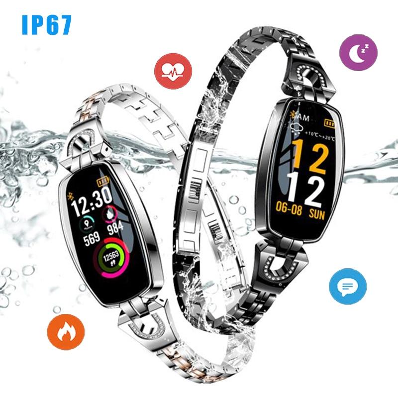 IP67 H8 Women Fashion Smart Wristband Heart Rate Blood Pressure Smart Bracelet Fitness Tracker Smart Watch Women Reloj MujerIP67 H8 Women Fashion Smart Wristband Heart Rate Blood Pressure Smart Bracelet Fitness Tracker Smart Watch Women Reloj Mujer