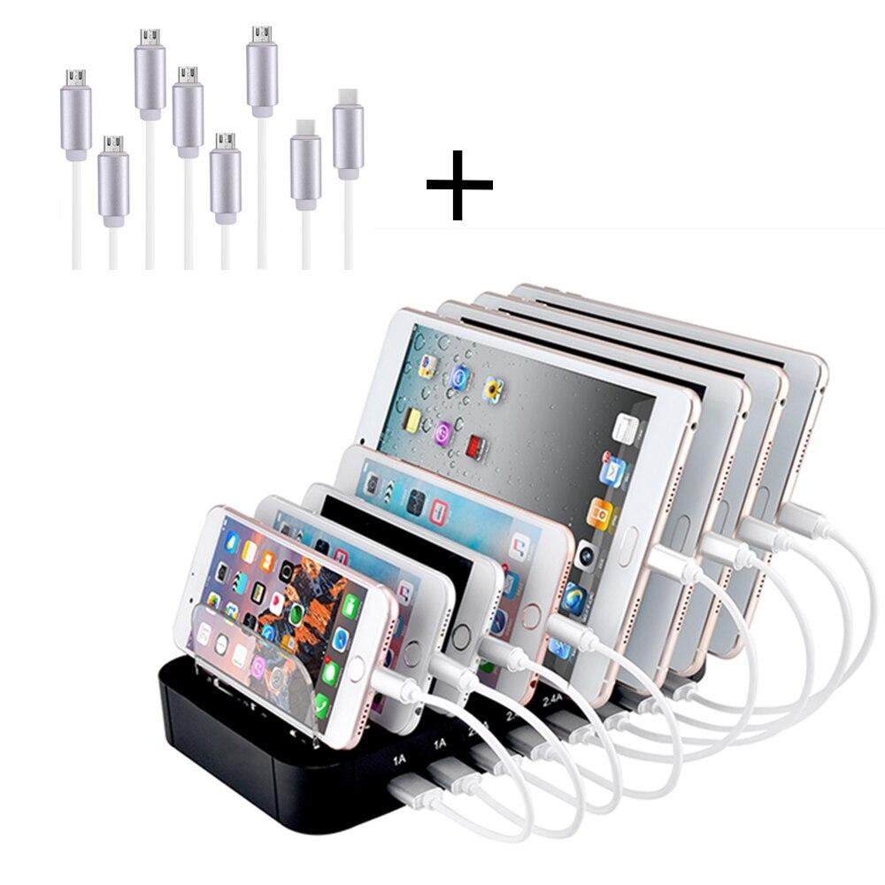 8 Ports USB avec câbles chargeur de téléphone portable Station de charge de voyage support de Dock universel pour tablette de téléphone portable intelligent