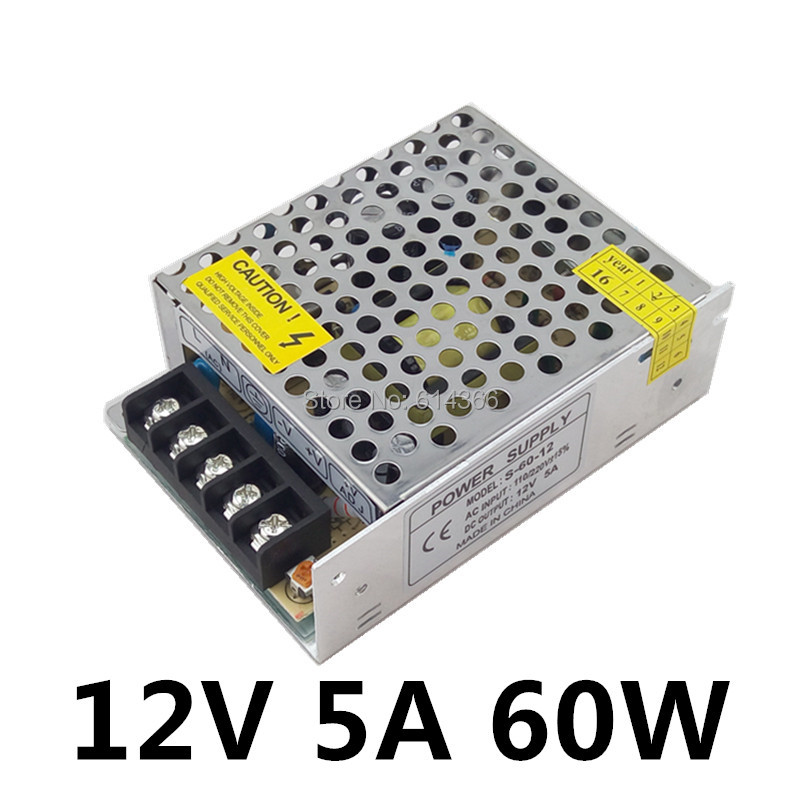 LED Power Supply 12V 5A 60W LED Driver Power Supply Switching Strip 3528 5050 Lighting For Transformers Aluminum Non-Waterproof power supply 24v 800w dc power adapter ac110 220v non waterproof led driver 33a ups for strip lamps wholesale 1pcs