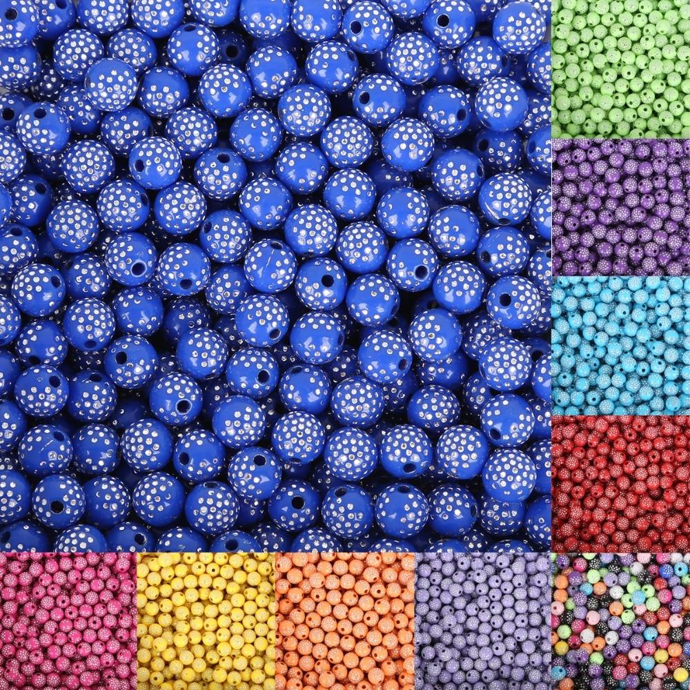 8 мм 100 шт. яркие блестящие круглые акриловые стразы точка Свободные Бисер россыпью сделай сам для ювелирных изделий браслет ручной работы