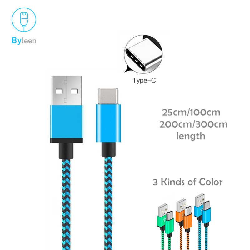 Byleen 0.25/1/2/3 متر طويل USB Type-C شحن سريع مزامنة البيانات شاحن خط لهواوي الشرف 8 9 10 v10 p20 شاومي mi a1 ماكس 2 mi 6