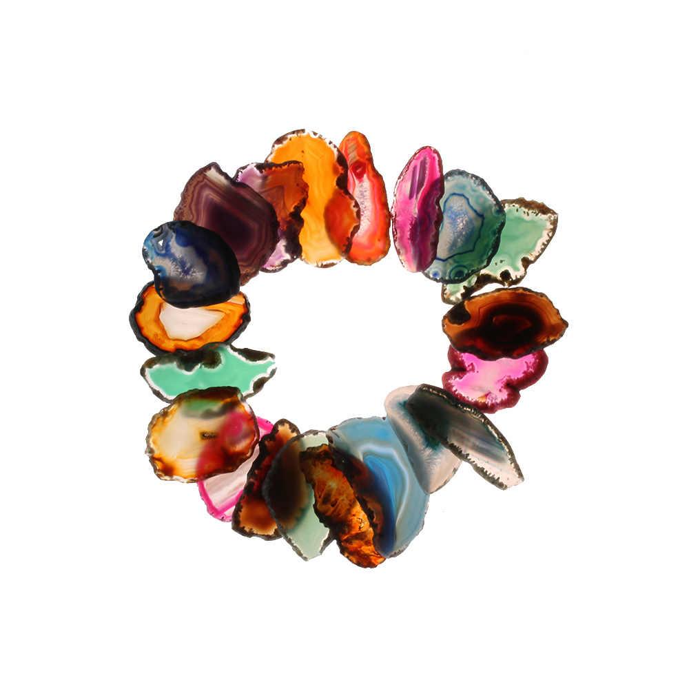 1 Pc ランダム瑪瑙の Geode ポリッシュ不規則なクリスタルスライスブラジル治癒レイキ石天然石ペンダントミネラル家の装飾
