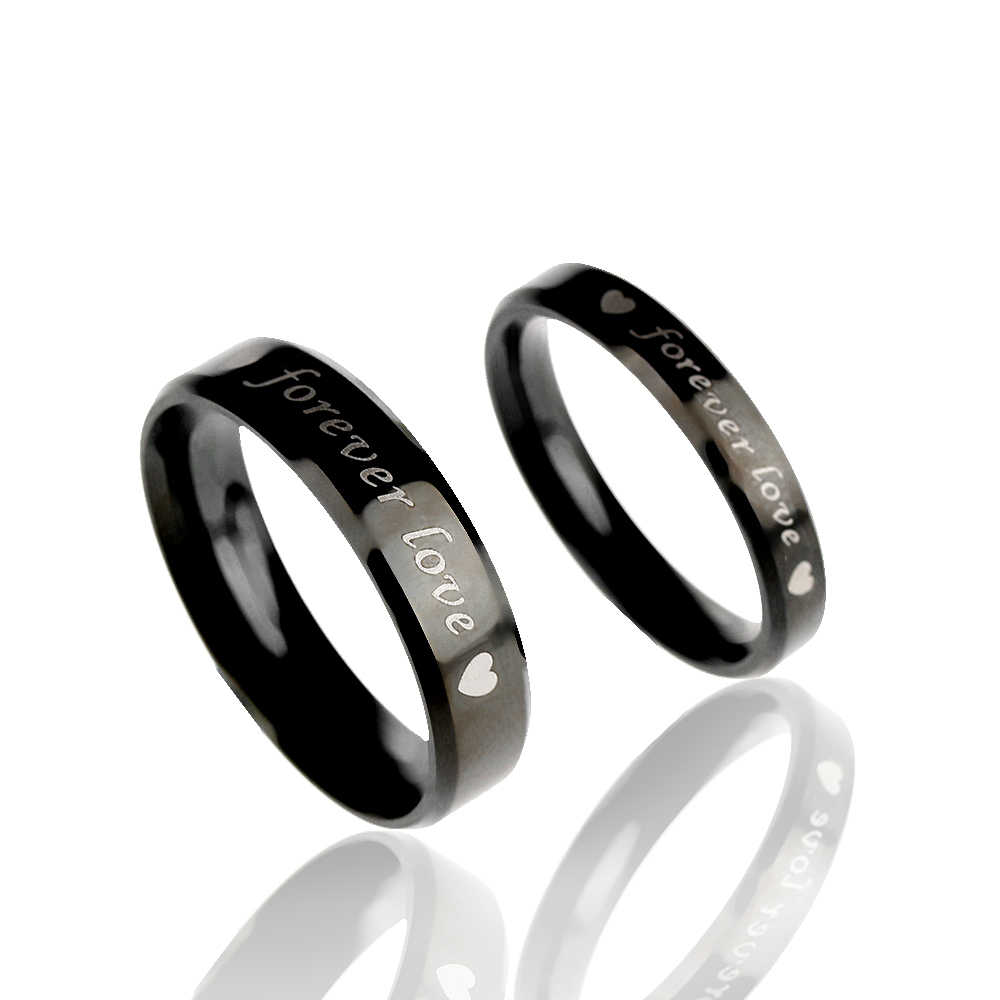e293ffe937 ... 1 Pcs Simple Steel titanium Forever love Couple Rings Wedding Band His  and Her Promise Rings