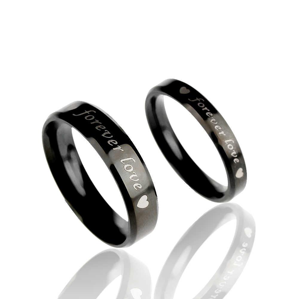 1 個シンプルな鋼 titanium 永遠にカップルリング結婚指輪彼と彼女の約束リング