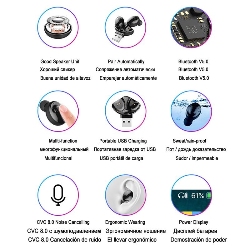 ECHILI Bluetooth Wireless  Headphones TWS 5.0 Earbuds True Stereo Earphones Mini Hands-free Mic Headset for TV Phone Car Sport Pakistan