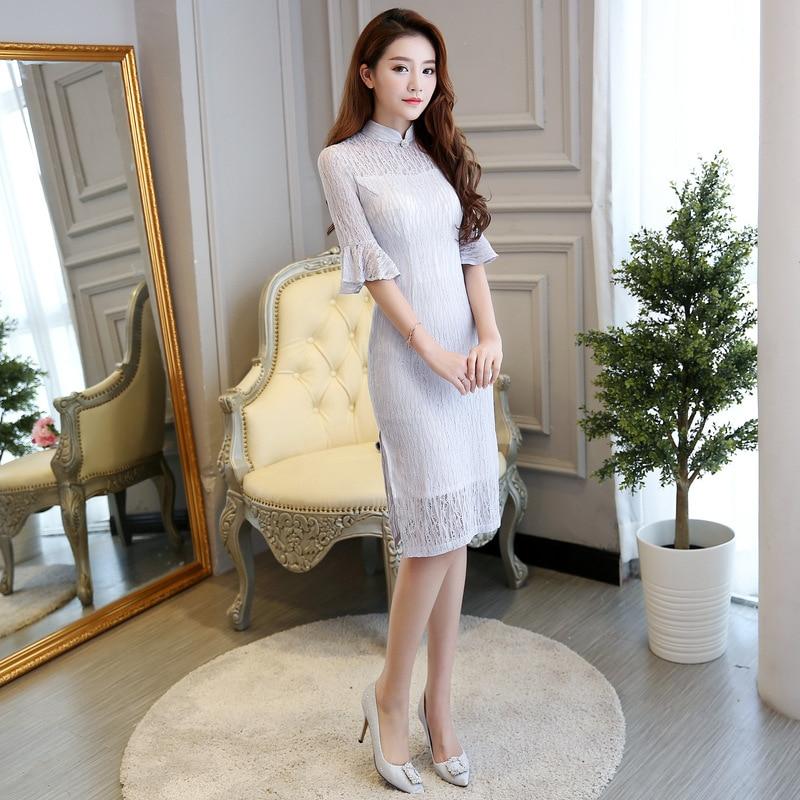 De Court Nouvelle 5209 2 Arrivée Cheongsam Moitié Robe Dentelle Qipao Col 1 Fleur S 3xl Mode Taille Mandarin Mince Chinois Manches Femmes CC5gqxrn