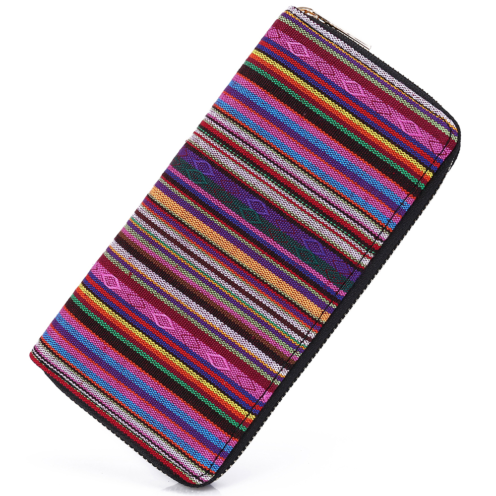 Sansarya 2018 Tribal Jacquard Woven Purple Long Women Wallet Boho Ladies Card Holder Aztec Female Purse With Cupreous Zipper non woven fabrics hanging type 18 cd dvd card holder beige