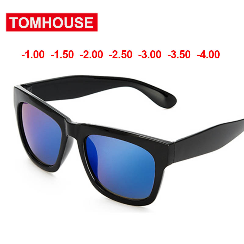 4866b7591db77 -1.0 -1.5 to -4.0 Myopia Sunglasses Women Men Plastic Frame With Color Lens  Fashion Sun Glasses Blue Eyewear Unisex Oculos UV400