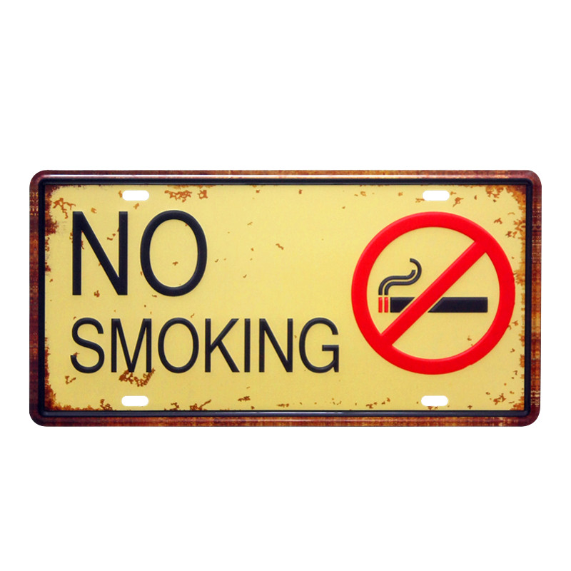 NO SMOKING CAR PLATE Vintage Tin Sign Bar pub home Wall Decor Retro ...