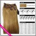 """15 """" - 22 """" женщины в реми человеческий волос прямой клипов в наращивание волос 70gr легкий коричневый # 12"""