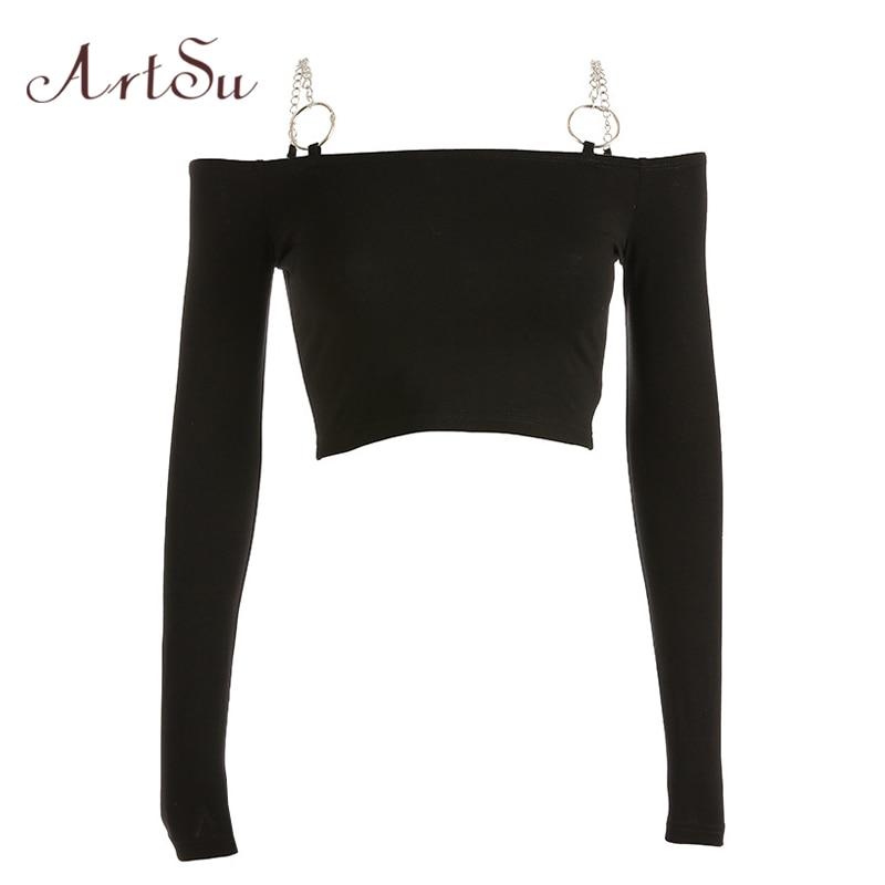 ArtSu Fashion Chain Off The Shoulder Tops For Women Black Long Sleeve Crop Top T-shirt Femme Basic Shirt Streetwear ASTS20611