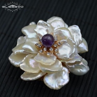 GLSEEVO Natural Fresh Water Baroque Pearl Flower Brooch Femme Bijoux Amethyst Agate Brooches For Women Dual Use Jewelry GO0100