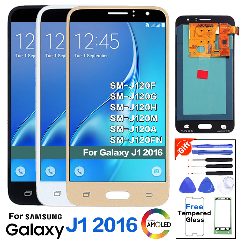 Super Amoled <font><b>LCD</b></font> Für <font><b>Samsung</b></font> <font><b>Galaxy</b></font> J1 2016 J120F J120DS J120G J120M <font><b>J120</b></font> <font><b>LCD</b></font> Display Touchscreen Digitizer Montage Original image