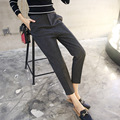 Autumn and winter new woolen nine high waist thin thick suit pants feet-do834
