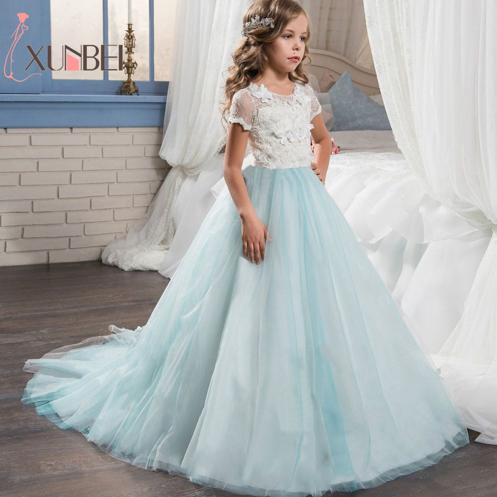 Floor Length Princess Light Sky Blue Lace   Flower     Girl     Dresses   2018 Applique   Girls   Pageant   Dress   First Communion   Dresses