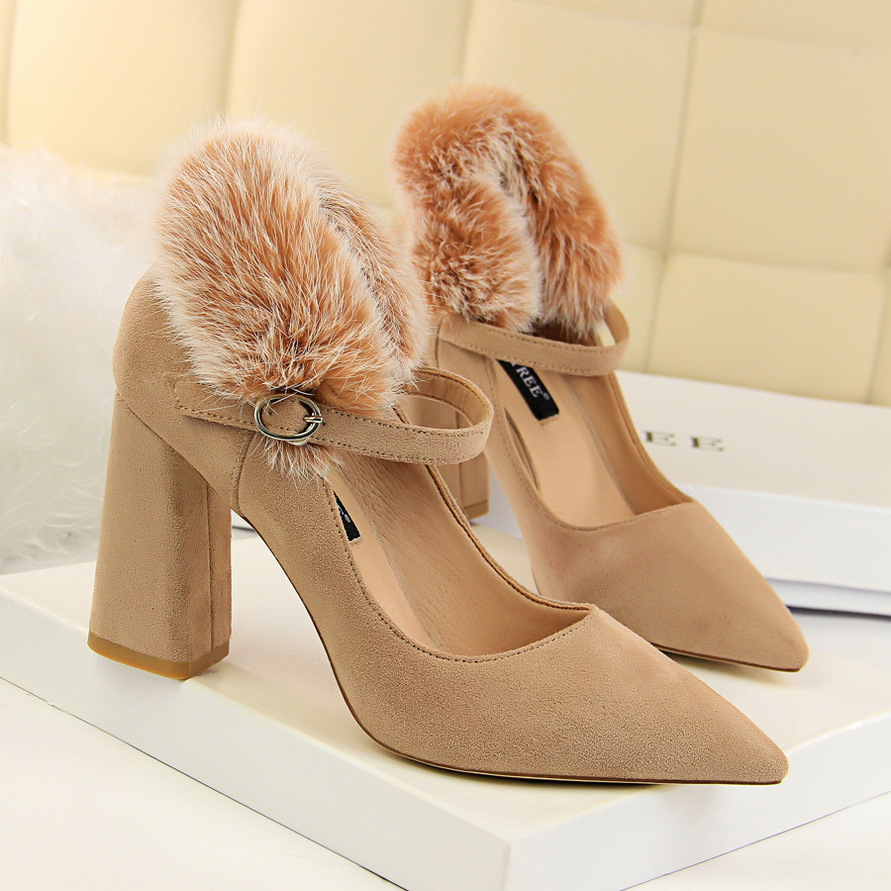 Women Pumps Shoes Thick Heels Retro High-8.5cm New Flock 2108 Word-Band Female Sexy