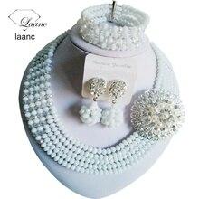 Mujeres de la manera Collares Blanco Borrar AB Crystal bisutería boda nigeriano beads africanos joyería conjunto ABC561