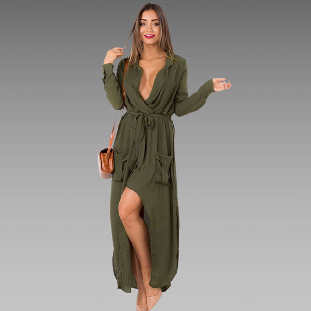a2a02ed82cf Autumn Fashion Sexy Dress Party Elegant Deep V-Neck Long Sleeve Maxi Dress  2015 Women