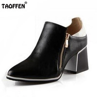 Big Size 34 43 Thick Square Heels Ankle Boots For Women Spring Autumn Sexy Zipper Color