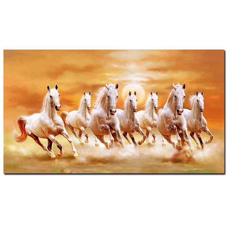 HD Print Artistic Animals Art Seven Running White Horse Oil Painting on Canvas Gold Poster Modern Wall Painting For Living Room