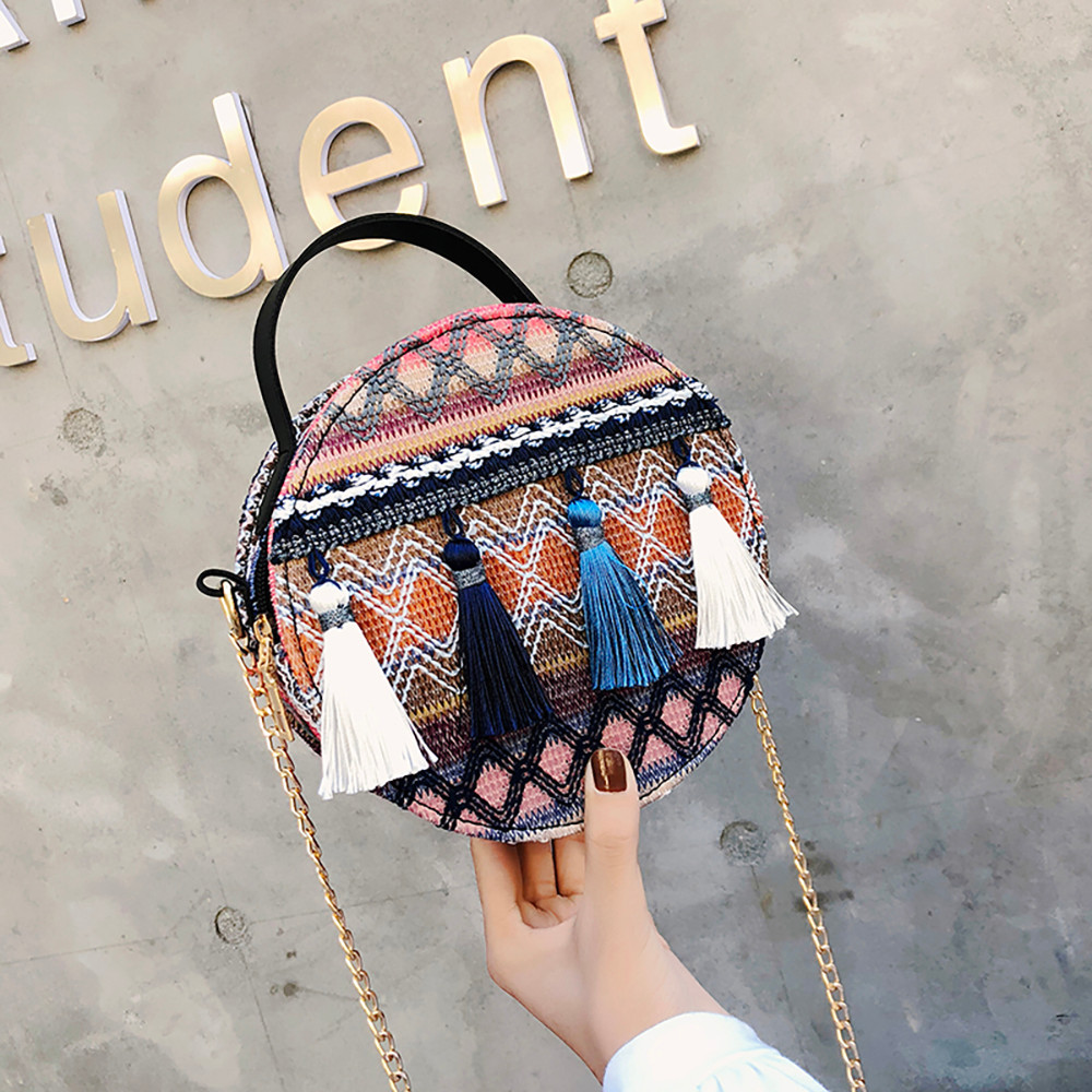 Women Tassel Chain Small Bags national wind round bag packet Lady Fashion Round Shoulder Bag Bolsos Mujer#A02 92