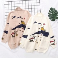 Women Sweaters Embroidery Knit Cardigans Christmas Sweater Print Women V Neck Casual Loose Sweater Long Sweater