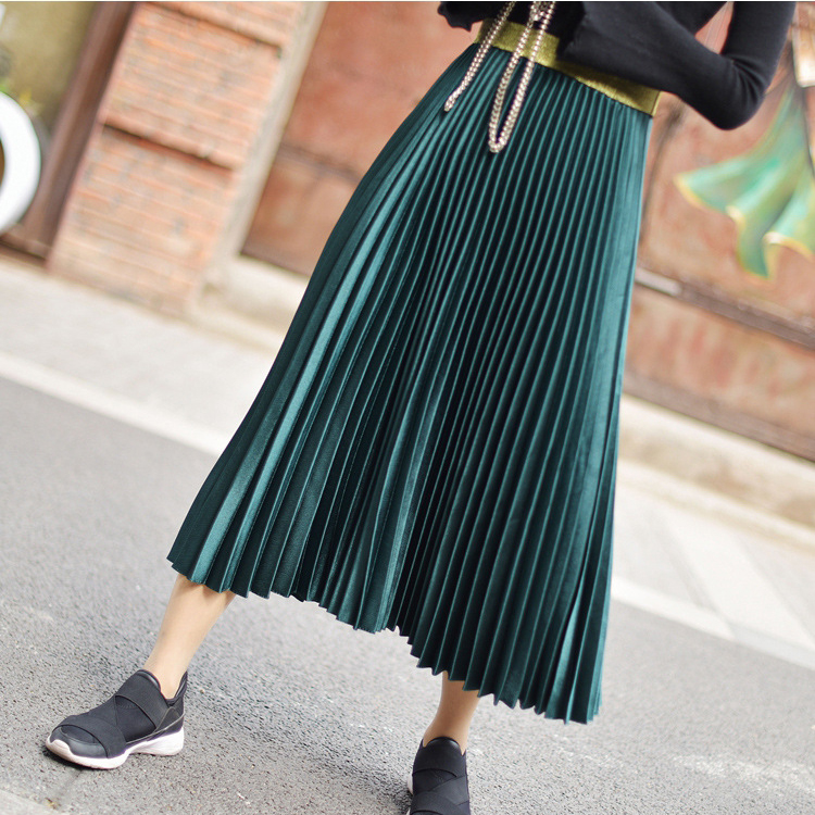 Stretch High Waist Long Pleated Skirt 3