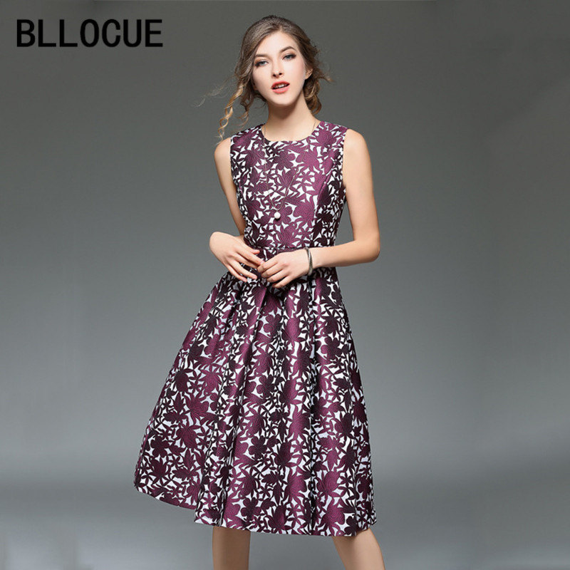 BLLOCUE High Quality New 2018 Spring Runway Sleeveless Tank Jacquard Dress Women Elegant Party Dresses Vestidos