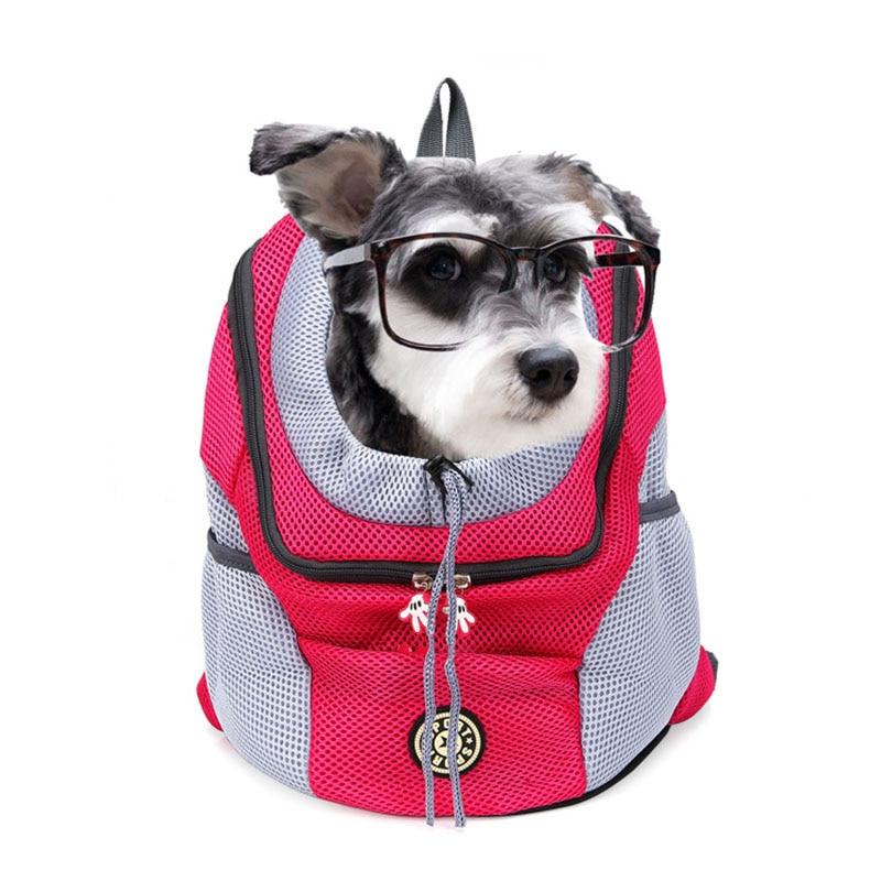 Venxuis New Out Double Shoulder Portable Travel Backpack Outdoor Pet Dog Carrier Bag Pet Dog Front Bag Mesh Backpack Head