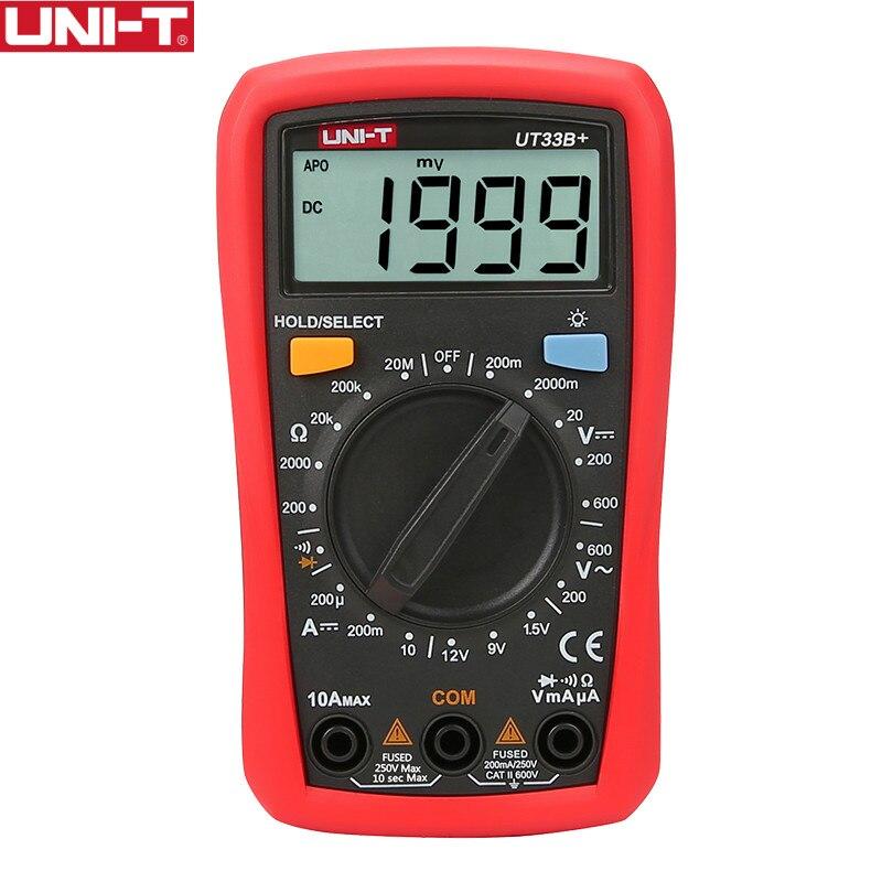 UNI-T UT33B+ Digital Multimeter Manual Range AC DC 200mV~600V Voltage Meter DC 10A Current Tester Resistance Meter