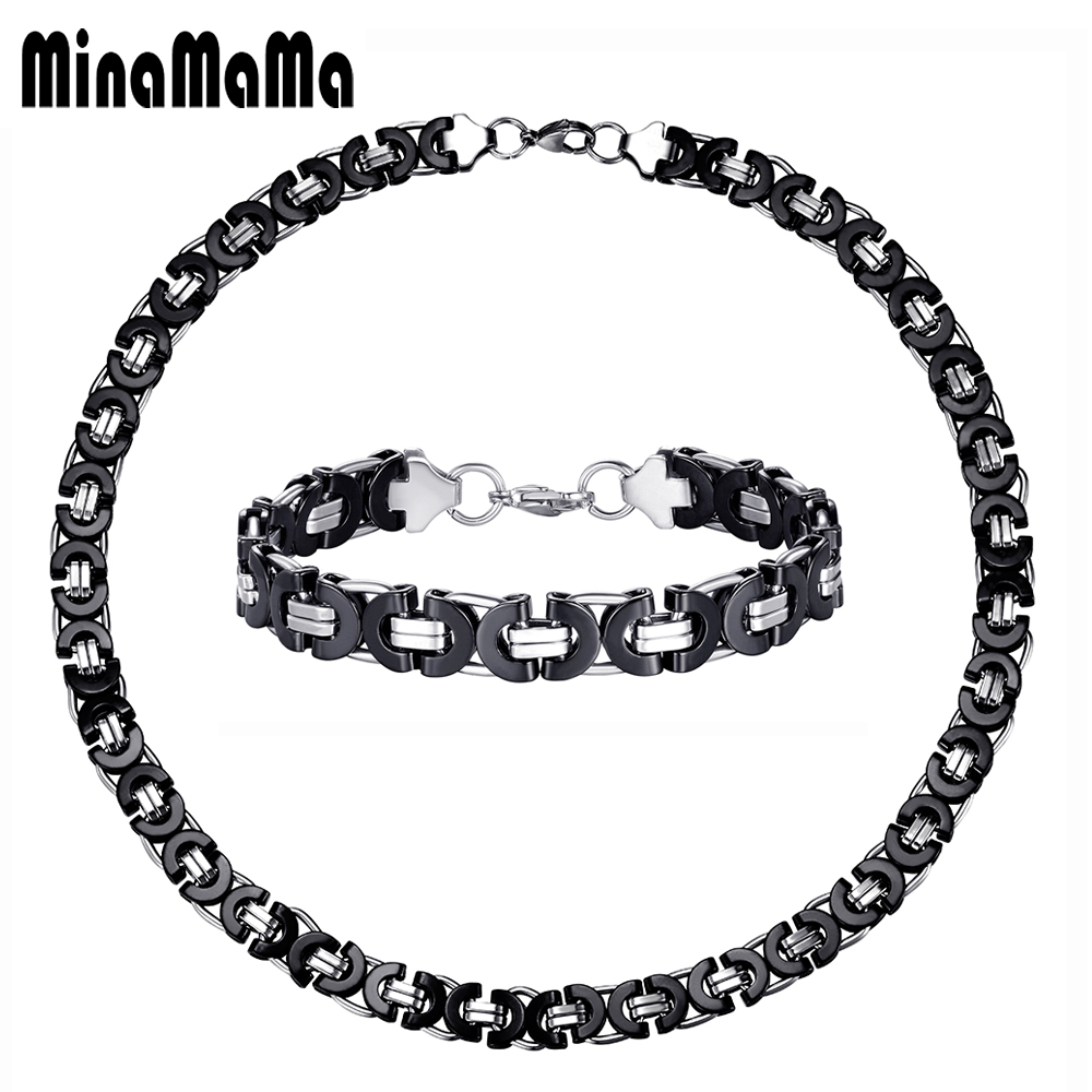 Stainless Steel Chains Chunky Jewelry Sets For Men Fashion Black Silver Color Male Biker Cuba Chain Necklace Bracelet Set