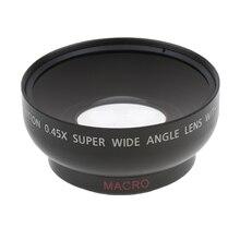 43mm 0.45x lente grande angular com macro para canon nikon sony pentax 52mm linha dslr câmera