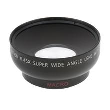 Lente gran angular 43mm 0,45x con Macro para Canon Nikon Sony Pentax 52 Mm rosca DSLR Cámara