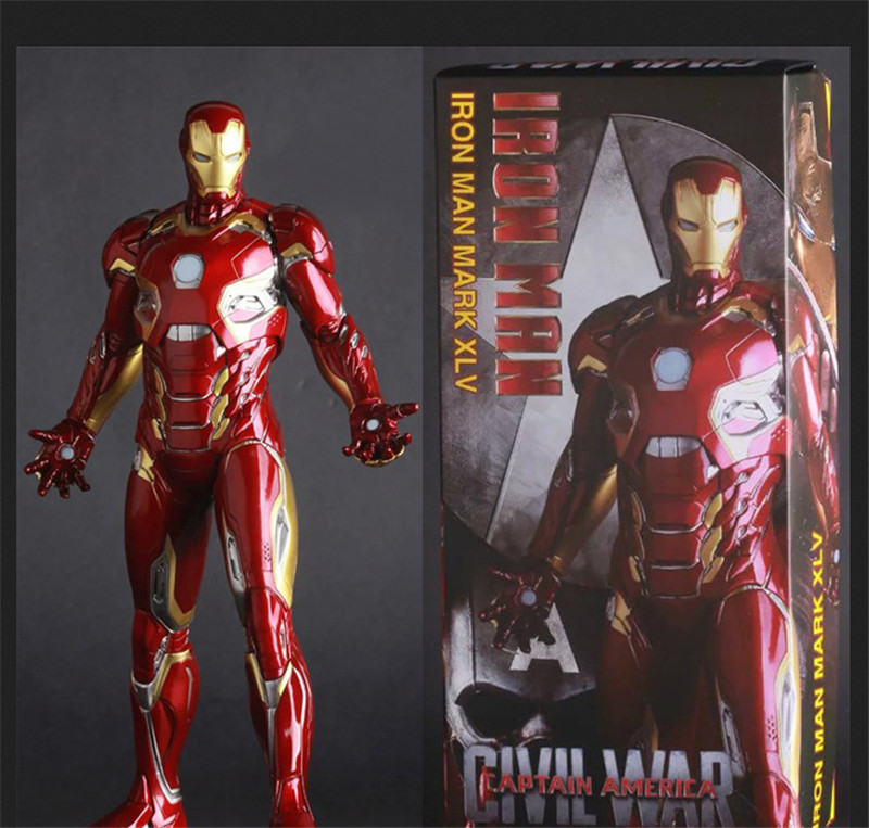 Anime Iron Man Mark XLV MK45 1/6 Scale Painted PVC Action Figure Super Hero Ironman Figurine Collection Model Toys Doll 30cm the avengers egg attack iron man patriot a i m ver super hero pvc ironman action figure collection model toy gift 18cm