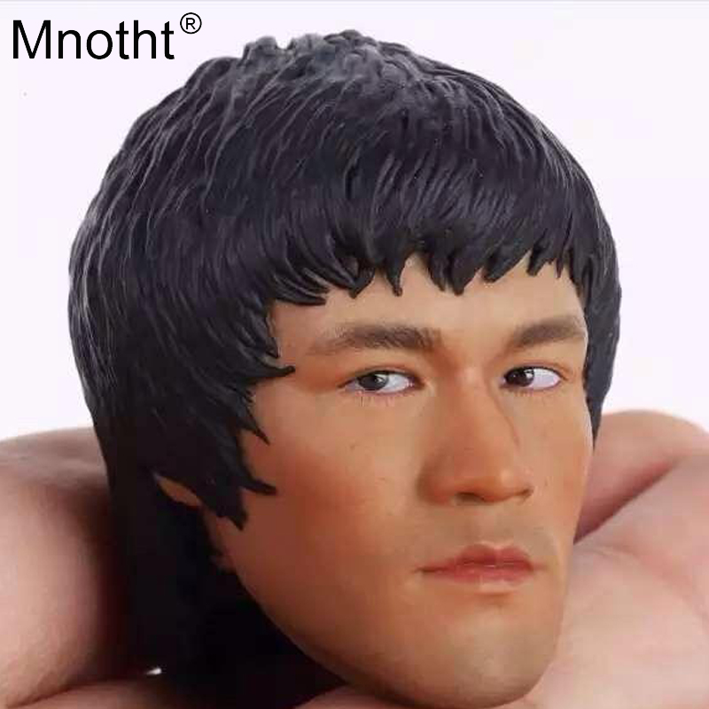 Mnotht 1/6 Soldier Male Head Carve toy Asian Kung fu Star Bruce Lee head Sculpt model for 12'' Action Figure body Collection 1 6 scale the game of death bruce lee head sculpt