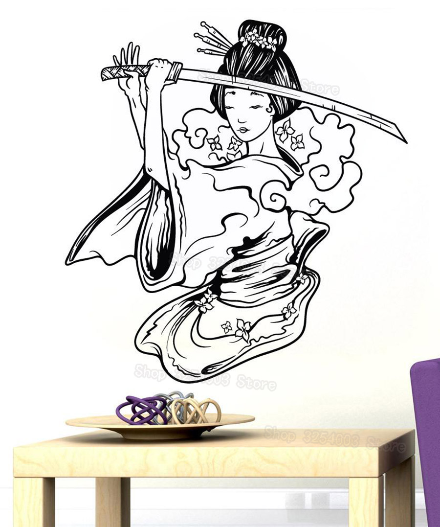 Samurai geisha japanese katana swords anime decorative vinyl wall sticker home decor living room boys girls bedroom mural s437 in wall stickers from home