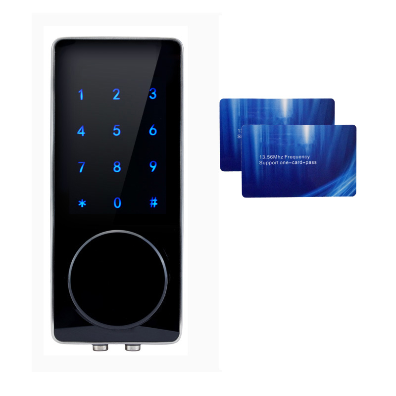 Electronic Door Lock Password 2 Cards 2 Mechanical Keys Touch Screen Keypad Digital Code Lock