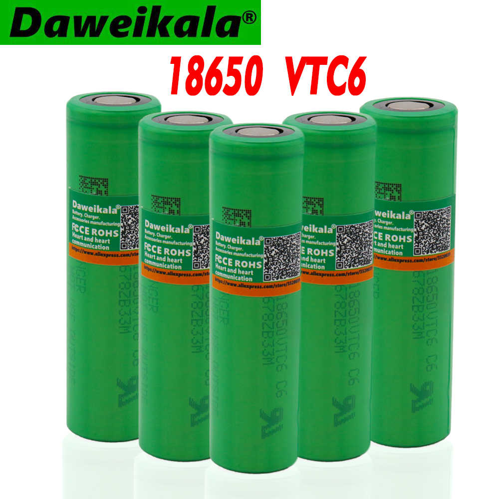 100% original 18650 lithium ion rechargeable battery vtc6 3000mAh 3.7V for Sony electronic cigarette flashlight battery