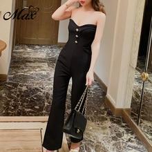 Max Spri 2019 New Fashion Pantsuit For Women Solid Color Strapless Rivet Decor Full Length Boot Cut