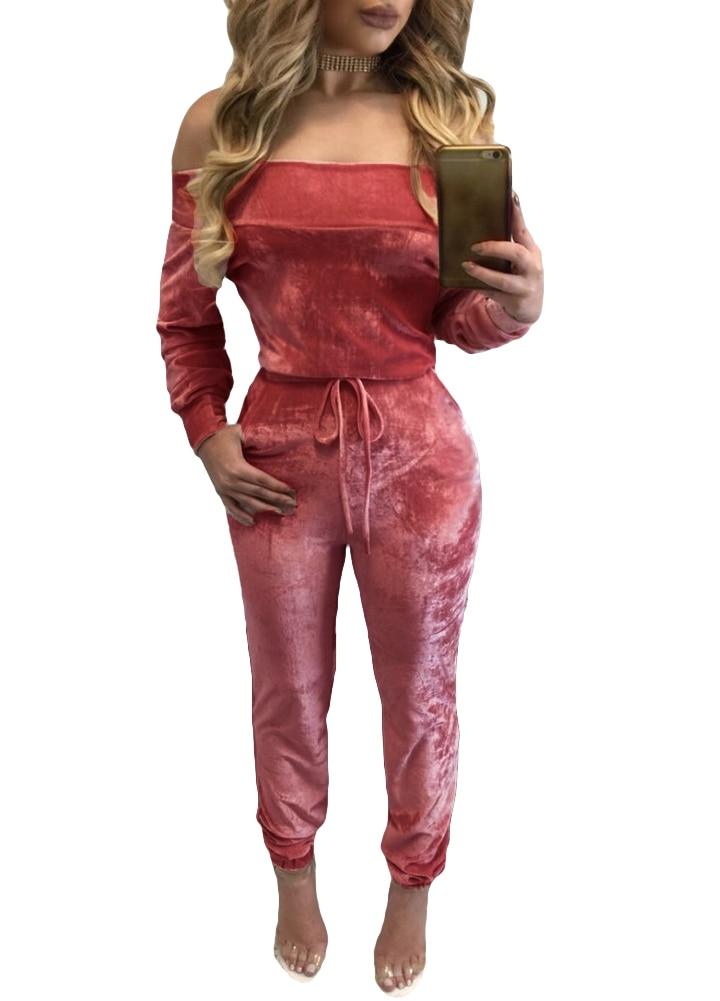 d93b9dc324e Elegant Off Shoulder Velvet Jumpsuit Women 2019 Slim Overalls Rompers  Casual Long Pants Sexy Ladies Jumpsuits