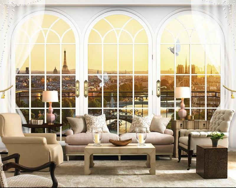 custom 3d photo room mural wallpaper paris window sofa TV background wall painting wallpaper for wall 3d non-woven wall sticker 3d photo wallpaper custom room mural non woven sticker retro style bookcase bookshelf painting sofa tv background wall wallpaper