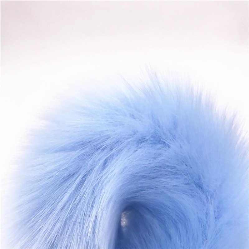 Из нержавеющей стали анальные пробка лиса хвост Анальная пробка 2 размера плюшевые небесно-Синий плюш хвост Анальная пробка для задницы секс-игрушки для пар H8-114G