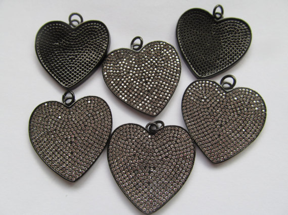 6pcs 30mm Micro Pave Diamond Heart Pendant, Pave Black Diamond CZ Pendant, Heart Charm,Heart Ring Silver gold Rose gold Gunmetal семена rose heart 988