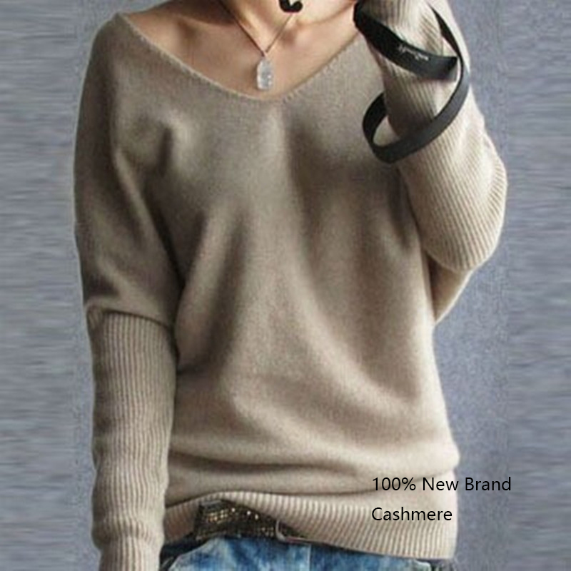 Autumn Sweater 2018 Women Pullovers V Neck Batwing Long Sleeve Casual Loose Cashmere Sweater Female Knitted Sweater Basic Tops