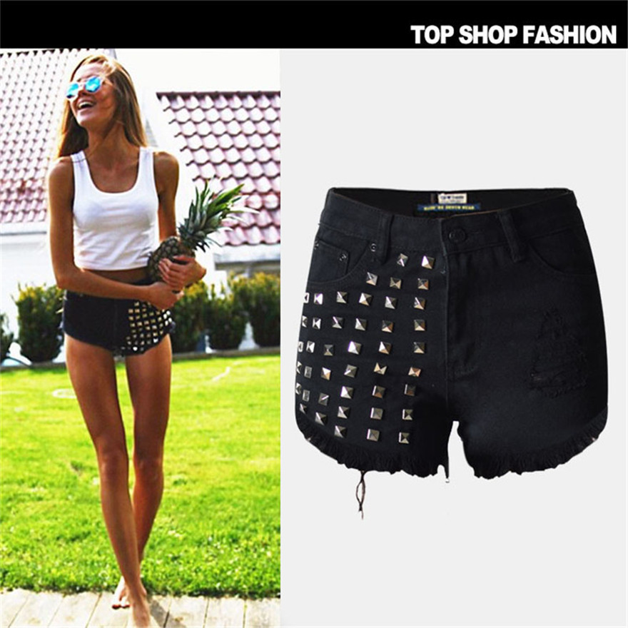 Hot Sale Summer Women High Waist Hole Jeans Shorts Woman Denim Shorts Vintage rivet tassel Sexy