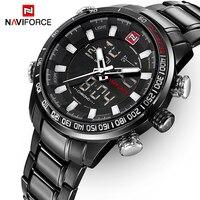 NAVIFORCEแบรนด์ชั้นนำหรูหราบุรุษนาฬิกาแฟชั่นสบายๆกีฬานาฬิกาข้อมือDualแสดงวันที่นาฬิกากองทัพทหา...
