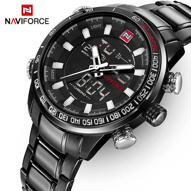NAVIFORCE Top Brand Luxury Mens Watches Fashion Casual Sport Wristwatch Dual Display Date Clock Army Military Relogio Masculino naviforce top luxury men watches mens brand watch sport army military wristwatch date display saat male clock waterproof relogio